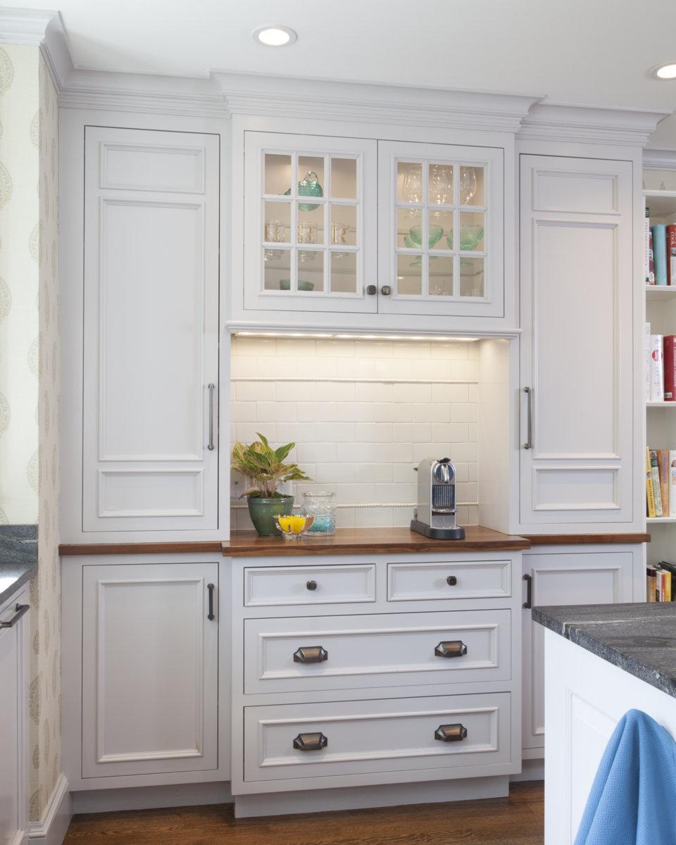 Custom cabinetry, wood countertops